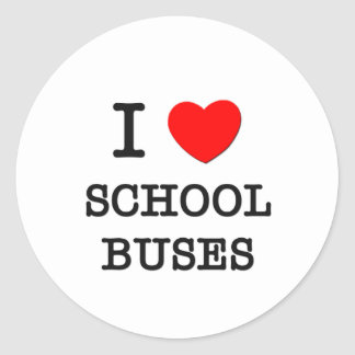 I Love School Buses Classic Round Sticker