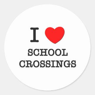 I Love School Crossings Classic Round Sticker