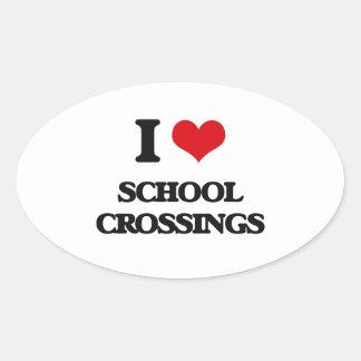 I Love School Crossings Oval Sticker
