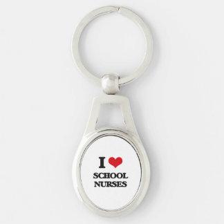 I Love School Nurses Silver-Colored Oval Metal Keychain