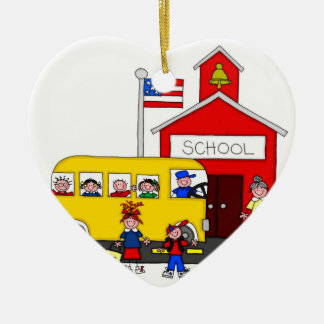 I Love School Double-Sided Heart Ceramic Christmas Ornament