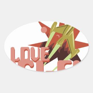 I Love Sci-Fi Oval Sticker