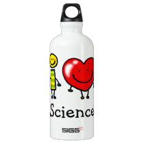 i love science aluminum water bottle