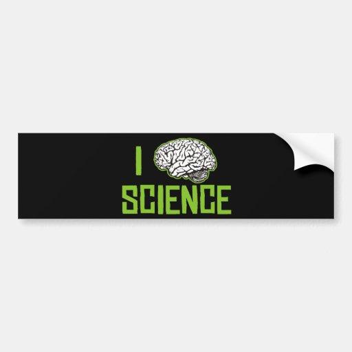 I Love Science (brain, green) Car Bumper Sticker