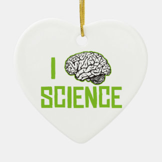 I Love Science (brain, green) Ceramic Ornament