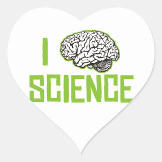 I Love Science (brain, green) Heart Sticker
