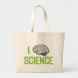 I Love Science (brain, green) Large Tote Bag