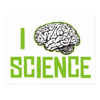 I Love Science (brain, green) Postcard