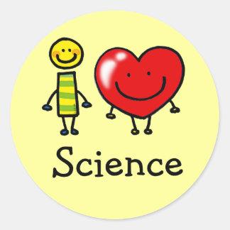 i love science classic round sticker