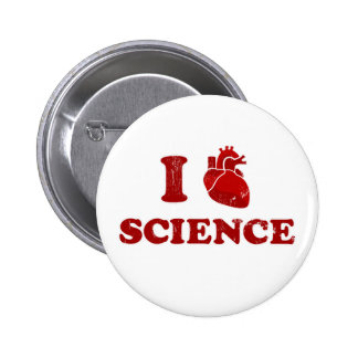 i love science / i heart science / anatomy pinback buttons