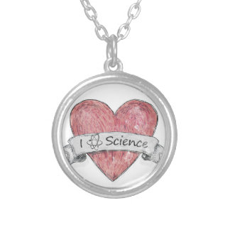 I Love Science Silver Plated Necklace