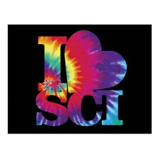 I love Science tie dye postcard