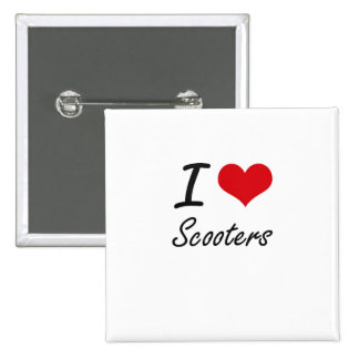 I Love Scooters 2 Inch Square Button