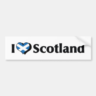 I Love Scotland Flag Bumper Stickers