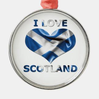 I Love Scotland Heart Flag Round Metal Christmas Ornament