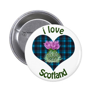 I Love Scotland Thistles and Hearts 2 Inch Round Button