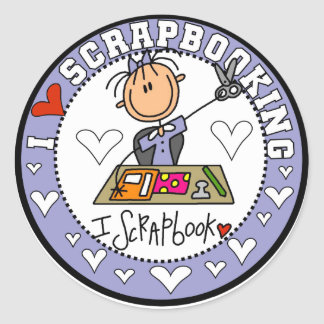 I Love Scrapbooking Tshirts and Gifts Classic Round Sticker