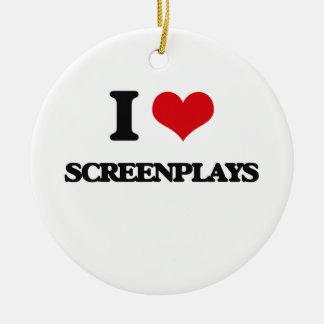 I Love Screenplays Round Ceramic Ornament
