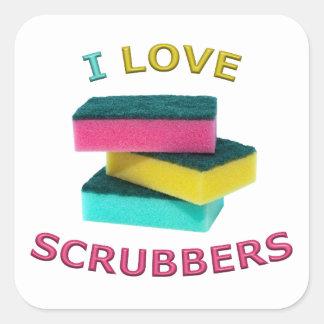 I Love Scrubbers Square Sticker