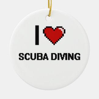 I Love Scuba Diving Digital Retro Design Double-Sided Ceramic Round Christmas Ornament