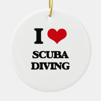 I Love Scuba Diving Double-Sided Ceramic Round Christmas Ornament