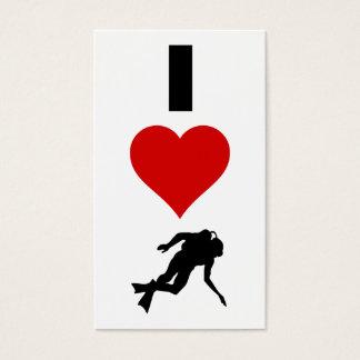 I Love Scuba Diving (Vertical) Business Card