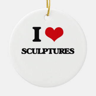 I Love Sculptures Double-Sided Ceramic Round Christmas Ornament