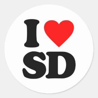 I LOVE SD CLASSIC ROUND STICKER