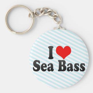 I Love Sea Bass Basic Round Button Keychain