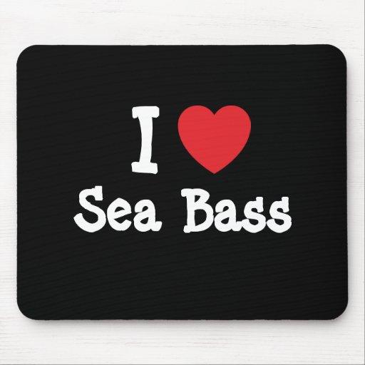 I love Sea Bass heart T-Shirt Mouse Pad