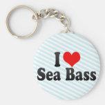 I Love Sea Bass Keychain