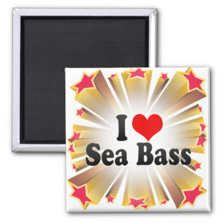 I Love Sea Bass Refrigerator Magnets