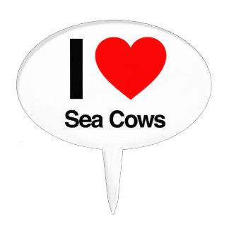 i love sea cows cake picks
