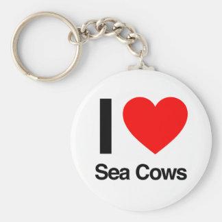 i love sea cows keychain