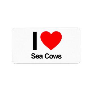 i love sea cows custom address labels