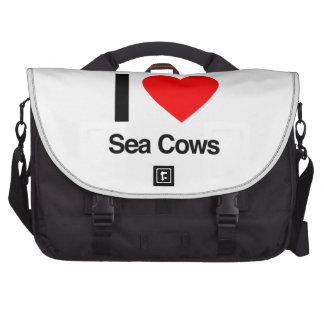 i love sea cows laptop messenger bag
