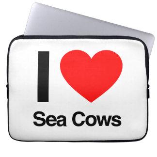 i love sea cows laptop computer sleeves