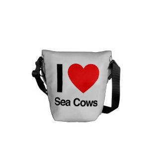 i love sea cows messenger bags