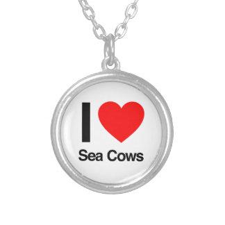 i love sea cows personalized necklace