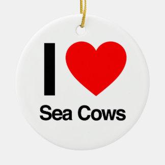 i love sea cows ornament