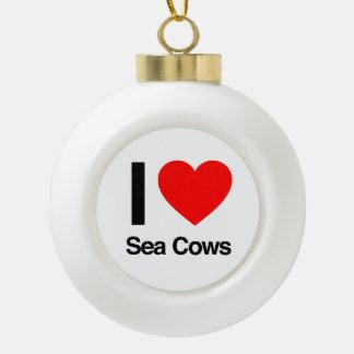 i love sea cows ornaments