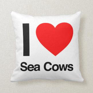 i love sea cows throw pillow