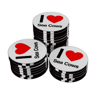 i love sea cows poker chip set