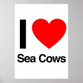 i love sea cows posters