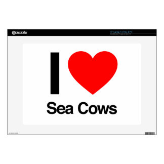 """i love sea cows skin for 15"""" laptop"""