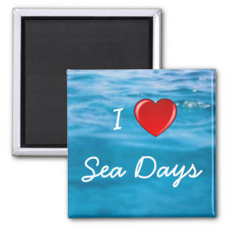 I Love Sea Days 2 Inch Square Magnet