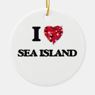 I love Sea Island Georgia Ceramic Ornament