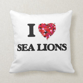 I love Sea Lions Throw Pillow
