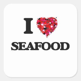 I Love Seafood food design Square Sticker