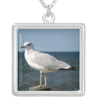I love Seagulls! Square Pendant Necklace
